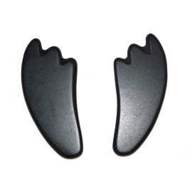 "Set de 2 pierres de massage en basalte - Style ""Guasha"""