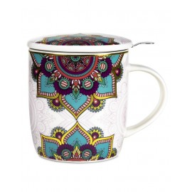 Boîte cadeau infuseur à Thé Mug Mandala - turquoise