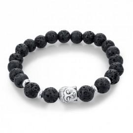 Bracelet pierre de lave - bouddha