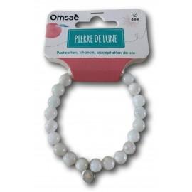 Bracelet pierre de lune perles rondes 8mm