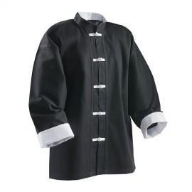 Veste noire avec parement et boutons brandebourg blanc / 100% coton