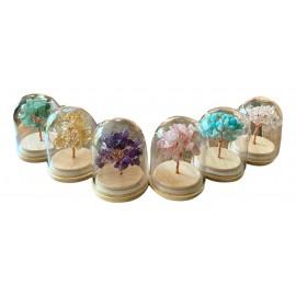 Mini arbre du bonheur sous cloche en pierre naturelle cristal de roche