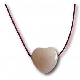 Pendentif cœur quartz rose foré