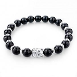 Bracelet perles naturelles - tourmaline noire bouddha